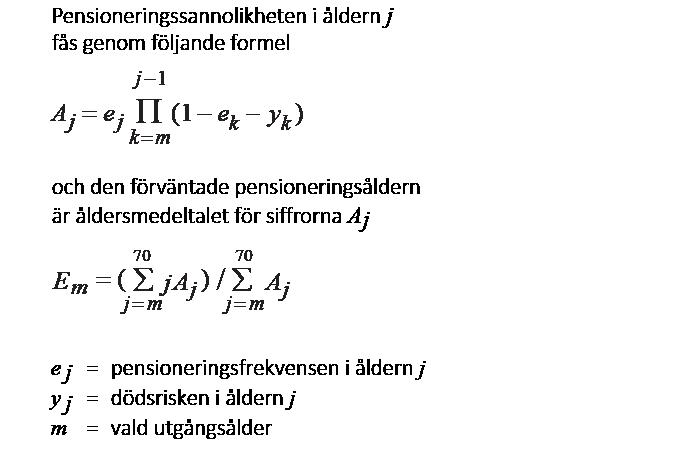 Formel för beräkning av den förvantade pensioneringsaldern