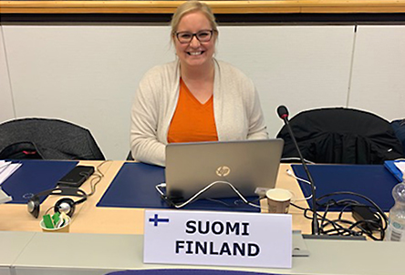 Noora Allenius seminaarissa EU-puheenjohtajakaudella 2019.