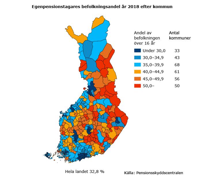Egenpensionstagares befolkningsandel år 2018 efter kommun