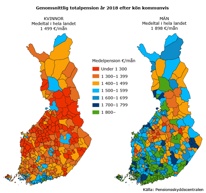 Genomsnittlig totalpension år 2018 efter kön kommunvis
