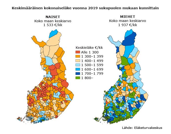 KeskimääräKuntakarttakuvio naisten ja miesten kokonaiseläkkeestä luokiteltuna eläkkeen suuruuden mukaan. Pienimmässä luokassa eläke on alle 1 300 euroa kuukaudessa. Tähän luokkaan kuuluu naisilla 68 kuntaa ja miehillä 1 kunta. Suurimmassa luokassa eläke on yli 1 800 euroa kuukaudessa. Tähän luokkaan kuuluu naisilla 6 kuntaa ja miehillä 95 kuntaa.