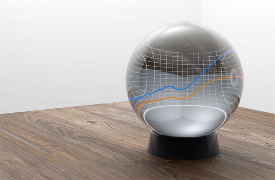 Kristallipallo, josta kuvastuu ennuste