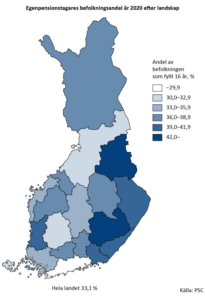 Egenpensionstagarnas befolkningsandel efter landskap år 2020. I Finland är en tredjedel av alla som fyllt 16 år pensionstagare. Landskapet med den största andelen pensionärer är Södra Savolax. På följande platser kommer Kajanaland  och Kymmenedalen. Endast Nyland har mindre än 30 procent pensionärer.