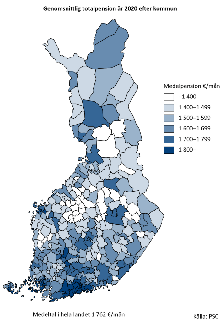 Genomsnittlig totalpension år 2020 efter kommun. År 2020 var den genomsnittliga totalpens-ionen 1 762 euro i månaden. Störst var den genomsnittliga totalpensionen i Grankulla i Ny-land. Den lägsta medelpensionen påträffas i Sydösterbotten, i Storå.
