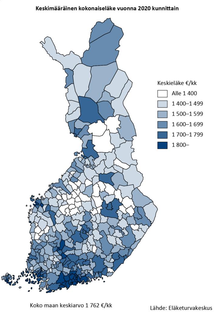 Keskimääräinen kokonaiseläke vuonna 2020 kunnittain. Vuonna 2020 keskimääräinen kokonaiseläke oli 1 762 euroa kuukaudessa. Suomen suurin keskimääräinen kokonaiseläke oli Uudellamaalla Kauniaisissa. Suomen pienin keskieläke oli Etelä-Pohjanmaalla Isojoella.